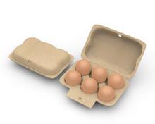 Blank Egg Carton Packaging Mockup For Branding, 3d Render Illustration.