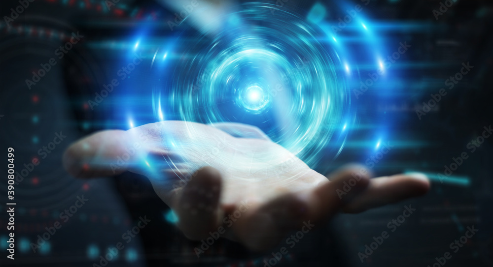 Fototapeta Businessman creating new futuristic energy power source 3D rendering