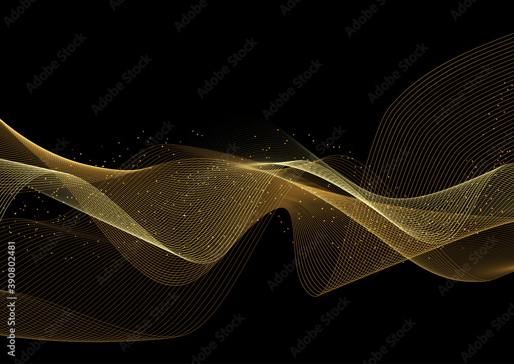 Fototapeta Glittery gold waves background
