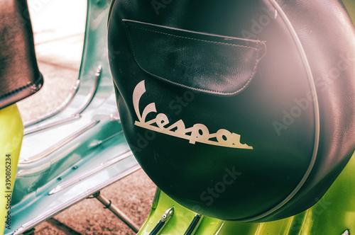Cuadros en Lienzo Porto Cervo, Italy - June 29, 2016: Piaggio Vespa vintage sprint motor scooter m