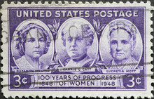 USA - Circa 1948 : A Postage Stamp Printed In The US Showing The Woman Elizabeth Stanton, Carrie C. Catt, And Lucretia Mott. 100 Years Of Progress Of Women
