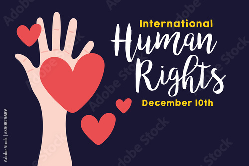 Foto human rights campaign lettering with hand and hearts