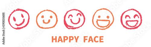 クレヨンで描いた幸せな表情 顔アイコン Fototapeta
