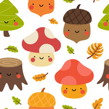 Autumn Seamless Pattern, Cute Drawing Cartoon Characters, Vector Set Of Autumn, Acorn, Snail, Pumpkin, Pear, Mushroom, Pine Tree. Nursery Seamless Pattern, Scandinavian Thanksgiving Day