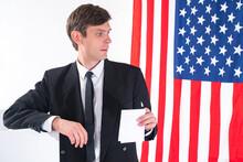 American Politician. Man On Ba...