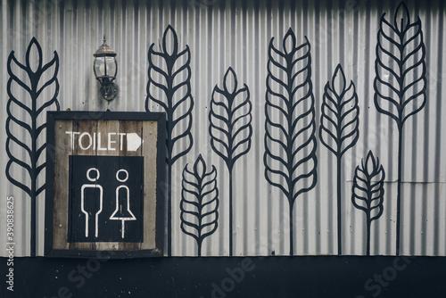 Vintage retro style of toilet sign Fotobehang