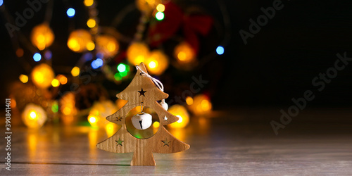 Obraz Decorative christmas tree, bokeh - fototapety do salonu