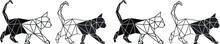 Geometric Cat Walking. Vector ...