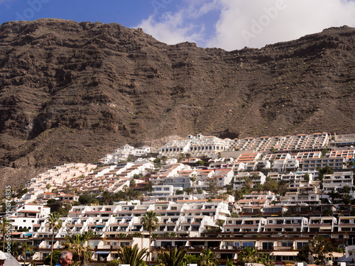 Tela Modern houses built into the hillside at Los Gigantes, Teneriffe, Canary Islands