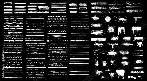 Fototapeta Collection of black paint. Spray paint elements, brush stroke, black splashes set. Sketch grunge charcoal, texture rough scratching pencil chalk line,freehand doodle scribble stroke art brushes vector obraz
