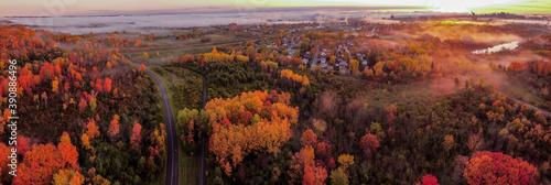 Fotografie, Obraz Ariel view of Gatineau and Ottawa with fog in Autumn