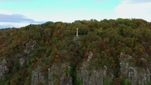 Saint George Hill's Basalt Cloums. Hungarian Name Is Szent György Hegyi Bazaltorgonák. Amazing Geological Formation On The Site Of An Old Volcano. Beautiful Fall Mood Near By Lake Balaton In Hungary
