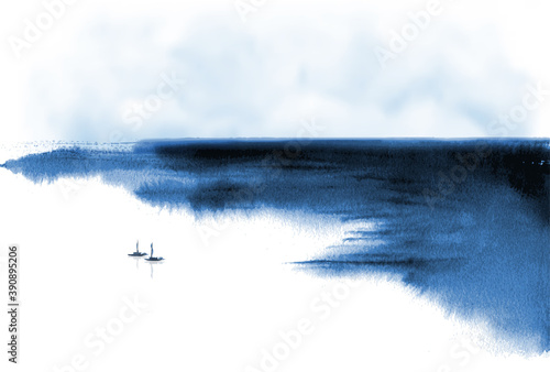 Fototapeta Minimalist ink wash painting landscape with fishing boats and sea coast