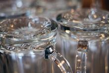 Closeup Shot Of Beer Glasses Upside Down