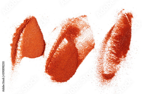 Fototapeta Set pile of red paprika powder isolated on white background, top view obraz