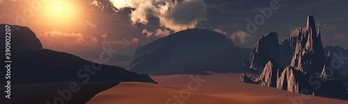 Alien landscape at sunset, Mars at sunset, surface of Mars