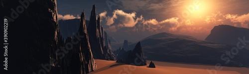 Foto Alien landscape at sunset, Mars at sunset, surface of Mars