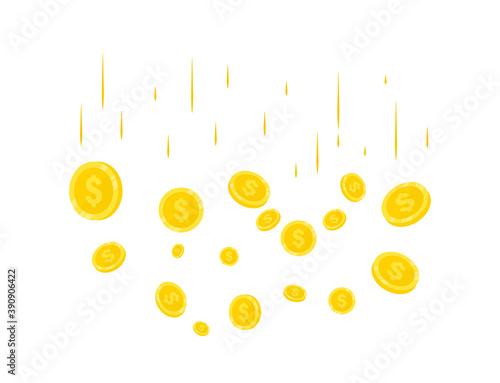 Stampa su Tela Rain of Realistic Gold coins