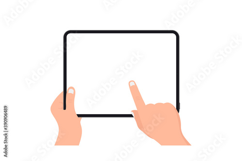 Obraz Hands holding black tablet with blank screen on white background. Human hand using digital tablet and finger touch screen. Template Mockup tablet pc with blank screen. Design for web site, mobile app - fototapety do salonu
