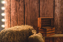 Hay And Boxes With Bags