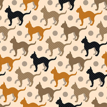 Cats Silhouettes, Stripes And Dots Filling. Scrapbooking Retro Stile. Seamless Vector Pattern.