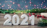 Fototapeta Natura - 2021 christmas background happy new year 2021 bokeh