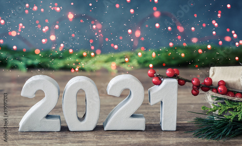 Fototapeta 2021 christmas background happy new year 2021 bokeh  obraz