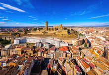 Aerial View Of A Gothic-Romanesque Cathedral In Lleida In Spain's Northeastern Catalonia Region