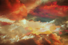 Beautiful Colorful  Fantasy Winter Cloudscape Background.