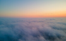 Drone View To The Sunrise Over The Clouds