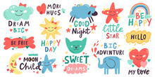 Cute Kids Lettering. Nursery Hand Drawn Quotes With Moon, Clouds, Stars, Cute Animals. Doodle Baby Shower Or Nursery Room Vector Illustration Set. Colorful Rainbow, Sun, Elephant And Cat