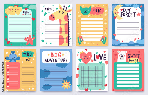 Childish planners. Cute nursery notebook sheets pack. Goal achievement and task planning pages with cute animals, moon, stars vector illustrations. Agenda set with place for text, to do list, notes