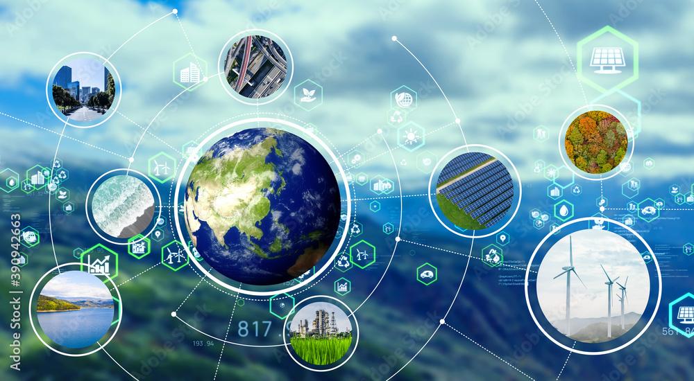 Fototapeta 環境とテクノロジー エコロジー サステナブル SDGs