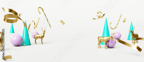 Christmas composition with decoration gold metallic reindeer on white background. Creative idea Christmas concept. 3d rendering