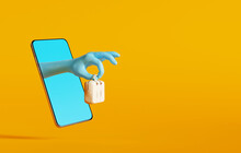 Hand Hold A Bag Out Of Smartphone On Yellow Background. Fashion Online Shopping Concept Or Give A Special Gift. 3d Rendering