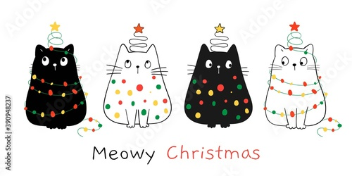 Draw happy cats with Christmas light For winter and New year.