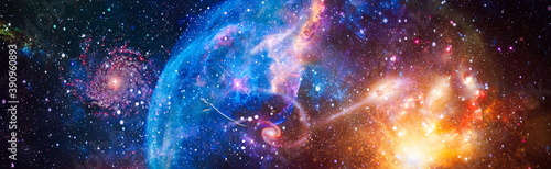 Obraz Incredibly beautiful galaxy in outer space. Billions of galaxies in the universe. Abstract space background. Elements of this image furnished by NASA - fototapety do salonu