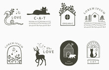 Beauty Occult Collection With Cat, Deer,bear,flower,house.Vector Illustration For Icon,sticker,printable And Tattoo