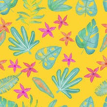 Digital Watercolor Tropical Leaves And Flowers Seamless Pattern.Isolated On Yellow.Green Plants, Botanical Vector Illustration, Floral Design.For Gift Wrapping, Wallpaper, Textile, Scrubbing, Web Page