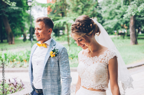 Lemon wedding at the groom's with the bride in a wedding dress Fototapeta
