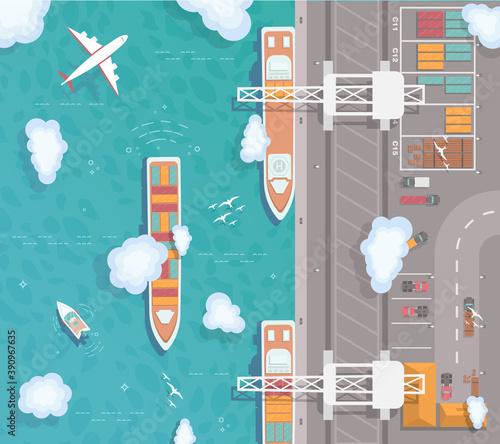 Fotografija Illustration of a cargo port in flat style