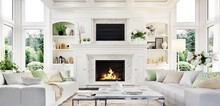 Luxury White Living Room And F...