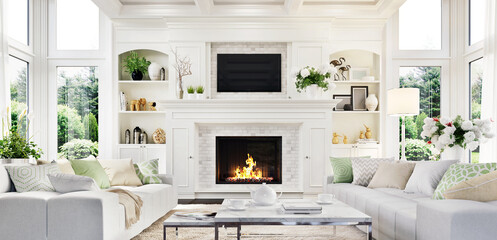 Luxury white living room and fireplace interior design in a beautiful home