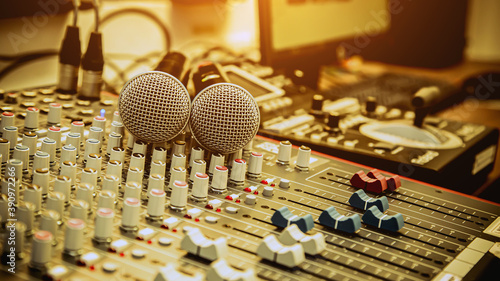 Close-up microphones and audio mixer in studio concepts room for sound control and recording equipment and music instrument Canvas Print
