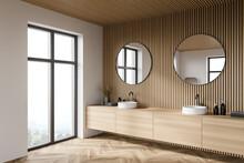 Wooden Bathroom Corner With Do...