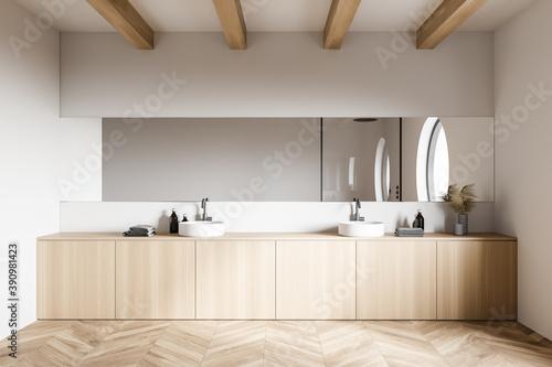 Obraz White loft bathroom interior with sink - fototapety do salonu