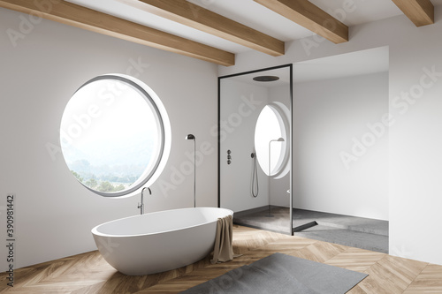 Foto White loft bathroom corner with tub and shower