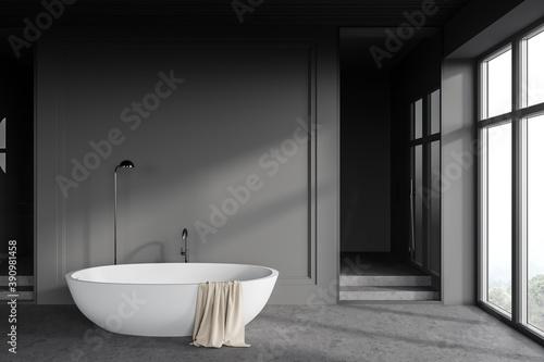 Fotografie, Tablou Gray loft bathroom interior with bathtub and shower