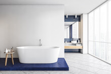 Blue And White Bathroom With B...