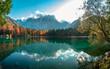 Colorful autumn foliage at the alpine lake